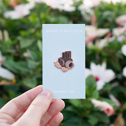 Medium Format Vintage Camera Floral Enamel Pin on Shoot It With Film