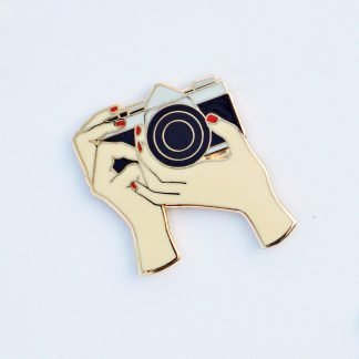 Girl With Camera Film Photography Enamel Pin on Shoot It With Film