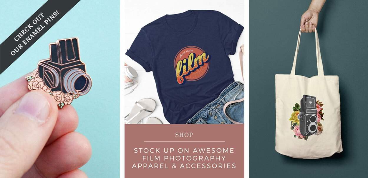 Shop film photography t-shirts, tote bags, and enamel pins in the Shoot It With Film store!