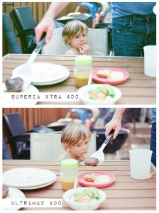 Child Outside at BBQ - Fuji Superia vs Kodak Ultramax Film Stock Comparison by Amy Berge on Shoot It With Film