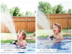 Child Outside in Kiddie Pool - Fuji Superia vs Kodak Ultramax Film Stock Comparison by Amy Berge on Shoot It With Film