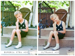 Child on Stoop - Fuji Superia vs Kodak Ultramax Film Stock Comparison by Amy Berge on Shoot It With Film
