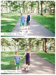 Children Walking Down Sidewalk - Fuji Superia vs Kodak Ultramax Film Stock Comparison by Amy Berge on Shoot It With Film