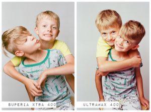 Indoor Portrait of Two Children - Fuji Superia vs Kodak Ultramax Film Stock Comparison by Amy Berge on Shoot It With Film