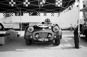 Black and white film image of a vintage racing car - 5 Film Cameras Under 50 Dollars by Jennifer Stamps on Shoot It With Film