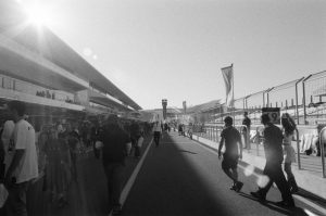 Black and white film image of a racetrack - 5 Film Cameras Under 50 Dollars by Jennifer Stamps on Shoot It With Film