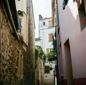 Narrow street or alleyway in town - French Catalonia Travel Story by Michael Raven on Shoot It With Film