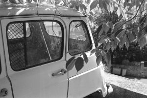 Black and white image of a vintage van - French Catalonia Travel Story by Michael Raven on Shoot It With Film