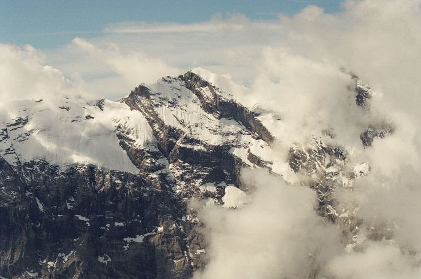 35mm film image of mountaintops in Switzerland - Switzerland Travel Story by Marley Bosshardt on Shoot It With Film
