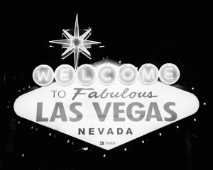 Black and white image of the Las Vegas sign on Ilford HP5 film - Guide to Ilford BW Film by David Rose on Shoot It With Film