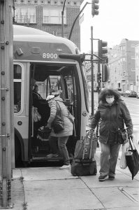 People getting off a bus on 35mm b&w film - San Francisco Photo Essay by Nick Hogan on Shoot It With Film