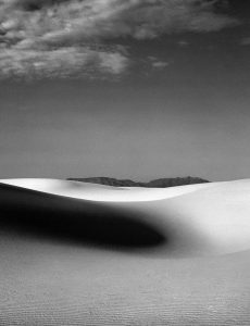 Black and white medium format film image of the sand dunes in New Mexico - White Sands by Madison Lloyd on Shoot It With Film