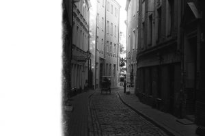 City street on 35mm black and white film - Eastern Europe Travel Story by Taylor Stoker on Shoot It With Film
