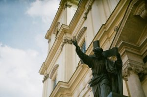Statue outside a building on 35mm film - Eastern Europe Travel Story by Taylor Stoker on Shoot It With Film