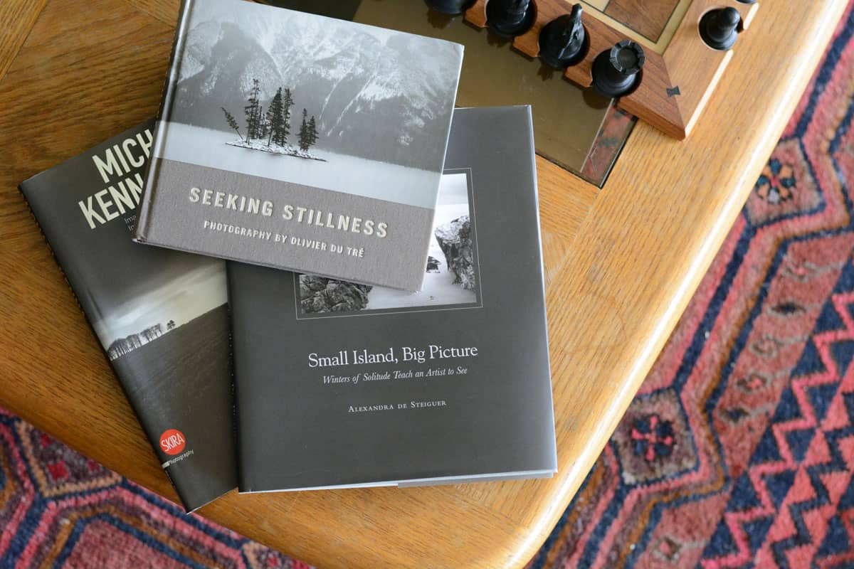 3 photo books on a coffee table - Photo Books for Black and White Landscapes on Film by James Baturin on Shoot It With Film